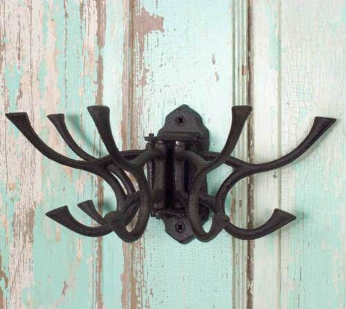 Cast Iron HINGED WALL COAT HAT HOOK Rustic Metal New antique vintage