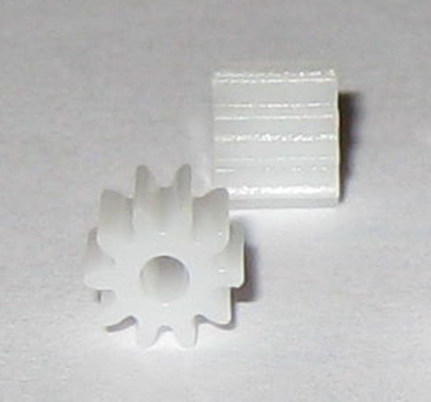 2X Plastic 10 Tooth Gear for 2 mm Shafts - 10T - 2mm - 5.7 mm OD Pinion Gears