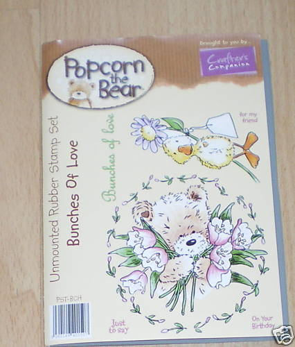 Crafters Companion POPCORN the BEAR Floral Collection BUNCHES OF LOVE Stamp Set