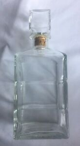 Vintage Seagram's Whisky Clear Glass Decorative Decanter with Logo on Stopper