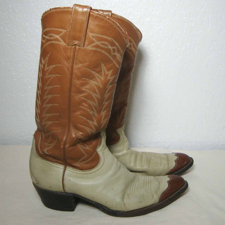 Etiqueta rara Vintage botas de cuero Justin Vaquero en punta reptil tan Hueso