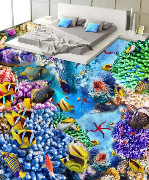 3D peces payaso corales Piso impresión de parojo de papel pintado mural 6 5D AJ Wallpaper Reino Unido Limón