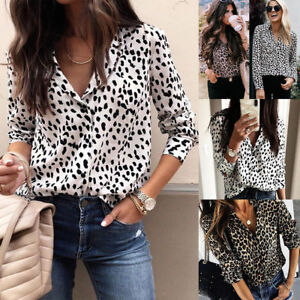 f55a32fdb24a71 UK STOCK Women V Neck Ladies Leopard Print Long Sleeve Loose T Shirt ...