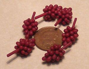 1:12 Échelle 6 Grappes De Foncé Rouge Raisins Tumdee Maison Poupées Nourriture Fabrication Habile