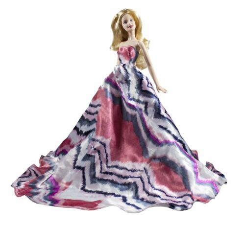 Peregrine Pink Black Chevron Pattern Stripes Silk Ball Gown for 11.5 inches Doll