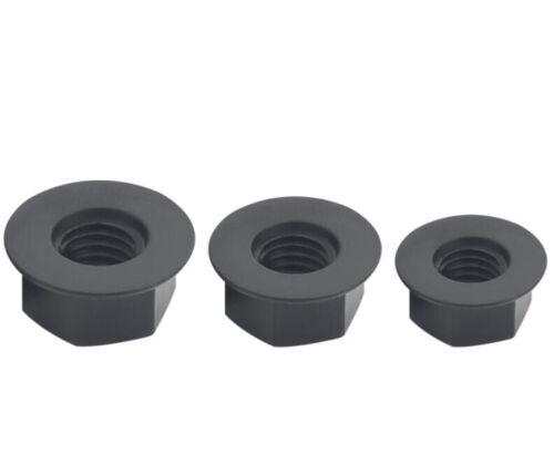 M5 M6 M8 nylon hex flange nut full thread black rubber smooth female screw 30pcs