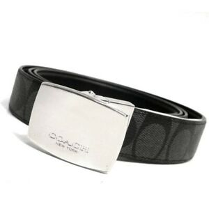 NWT-Coach-F64828-Signature-Dress-Plaque-Cut-To-Size-Reversible-Black-Belt-in-Box