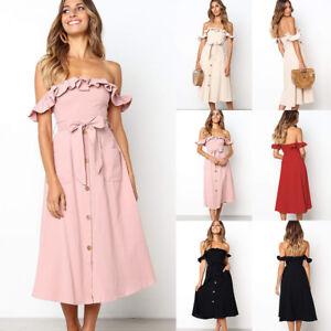 e83680a13988b Fashion Lady Backless Off Shoulder Holiday Boho Midi Dress Belt ...