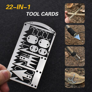 22 in 1 Multi Camping Survival Card Tool Outdoor Wilderness Emergency Gear D5H0