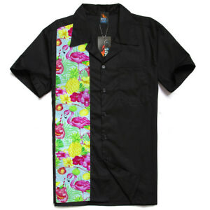 Men-039-s-Rockabilly-shirt-Flamingo-Shirt-Rock-n-roll-Hot-rod-shirt-Bowling