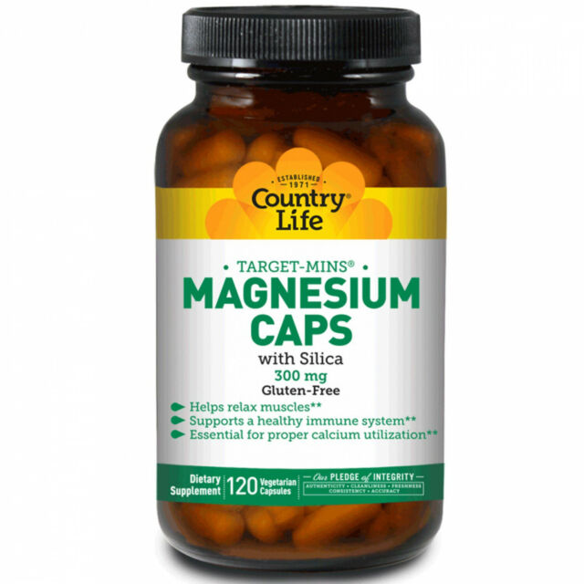 Country Life, Target-Mins Magnesium Caps With Silica, 300 Mg, 120 Vegetarian