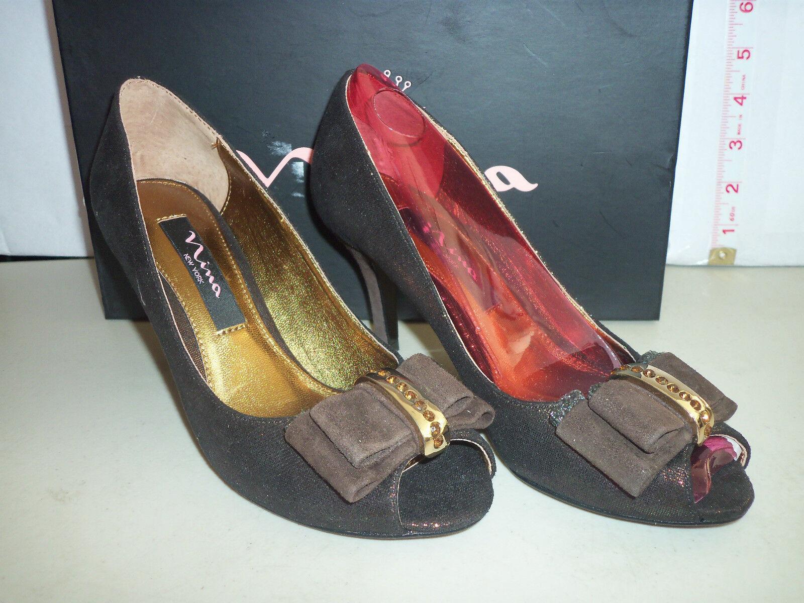 Nina New Womens Frosti Bronze Burnish Open Toe Heels 5.5 M shoes