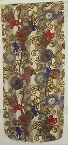 TERRIART-Gold-Navy-Red-Scrolls-Clocks-amp-Bows-62x14-Long-Scarf-Vintage