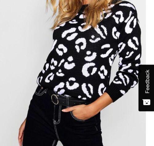 Donna Animale Leopardo Stampa Maglione Pullover Felpa Stretch a Maglia Top