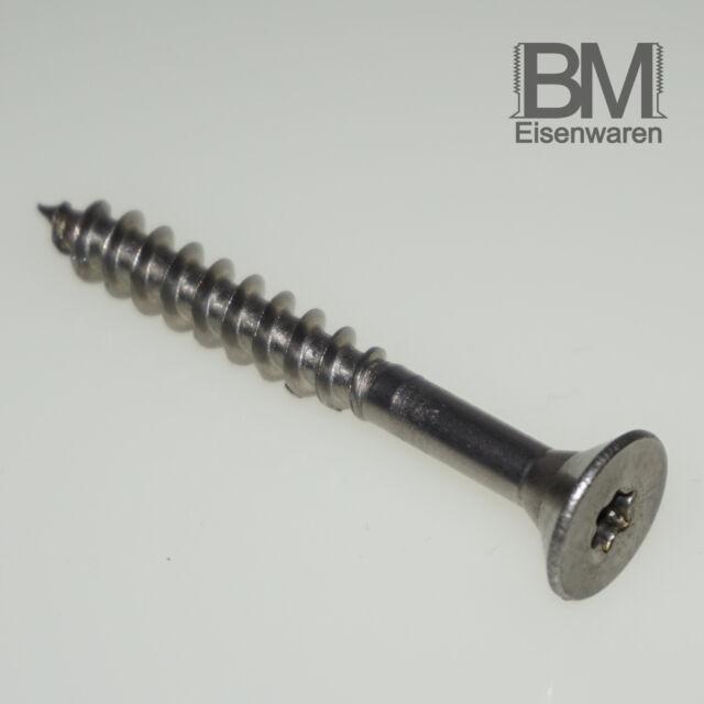 4 x 50 mm 400 Stück Spanplattenschrauben Torx Teilgewinde Senkkopf Edelstahl A2