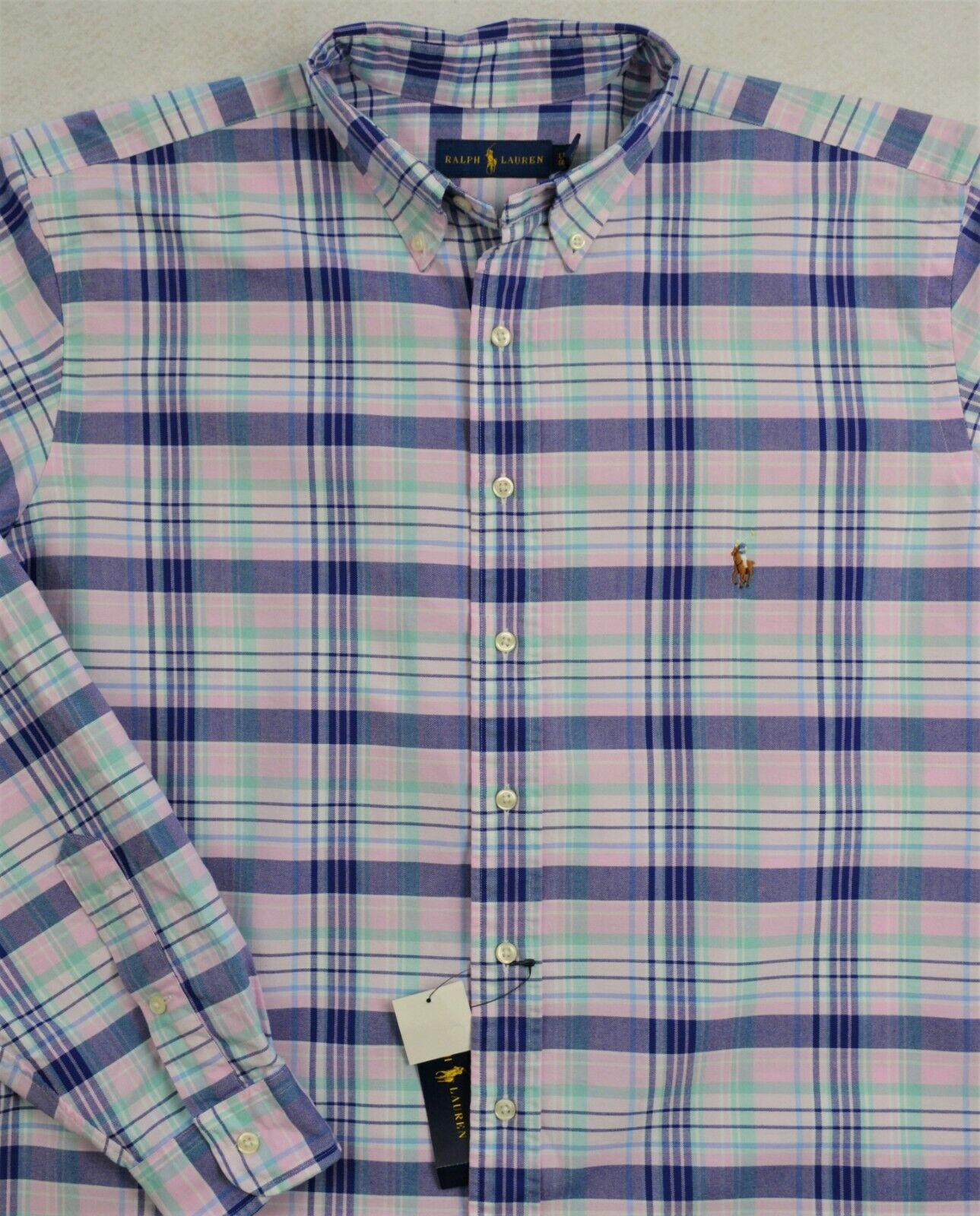 Ralph Lauren Shirt Oxford Pink Plaid Long Sleeves 2XLT & 3XLT NWT