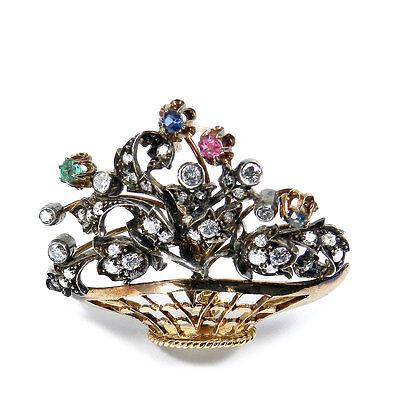 Prächtige Brosche Blumenkorb in 18K Gold 1.8ct Diamanten Saphir Smaragd & Rubin