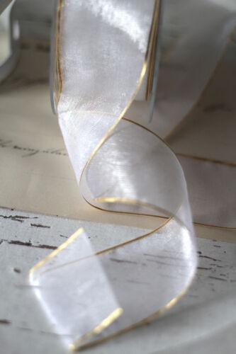 0,70€//m 3m zartes Organza Dekoband 40mm weiß mit Goldkanten Chiffon Hochzeit