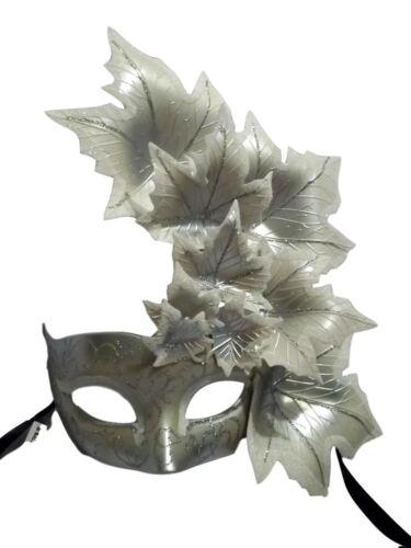 White Silver Leaf Cascade Mask Masquerade Prom Mardi Gras