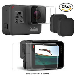 2Pack Tempered Glass Screen Protector Guard Film For GoPro 5 Screen and Lens