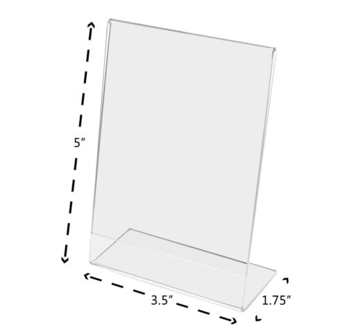 """Ad Price Name Frame 3.5/"""" x 5/"""" Slant Back Sign Display Holder Counter Top Qty 100"""