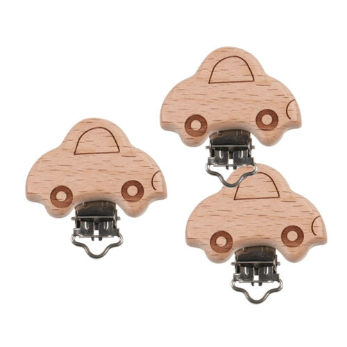 3pcs Wooden Clip on Dummy Soother Pacifier Clips Holder Baby Toddler Toys