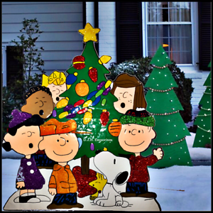 Peanuts Outdoor Christmas Decorations.Details About Nostalgic Peanuts Gang Oh Christmas Tree Glitter Enhanced Metal Outdoor Yard Art