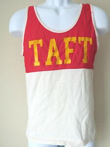 Vintage-TAFT-TANK-TOP-P-E-Gym-Men-039-s-Unisex-School-Red-White-XS-Extra-Small-HS