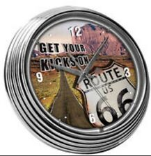 ROUTE 66 NEON WALL CLOCK SIGN - BRAND NEW
