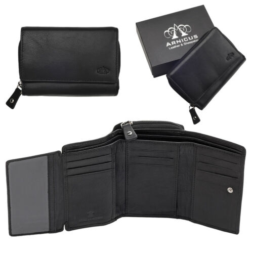 Ladies Leather Trifold Purse Wallet RFID Blocking Flip Out Section Coin Zip