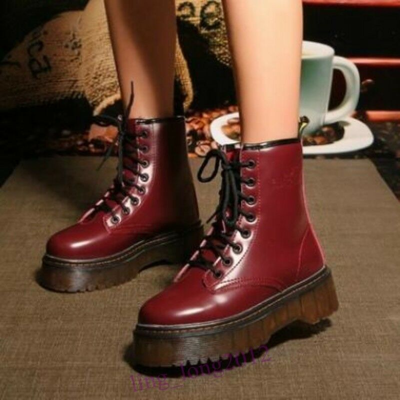 Ladies Womens Lace Up Creeper Platform shoes Combat Riding Punk Ankle Boots SZ