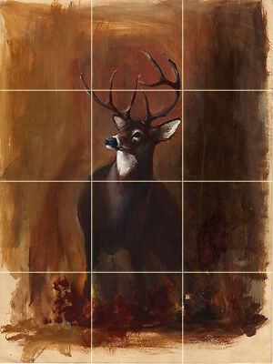 12 x 12 Art Deer Colorful Accent Mural Ceramic Backsplash Bath Tile #1586