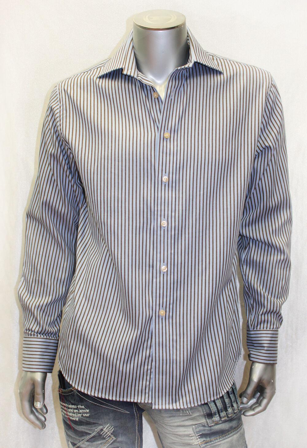 Men's Rufus Bronze   Lt.bluee Pinstripe Long Sleeve Button Down Shirt