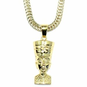 Gold queen nefertiti pendant with 18 kt gold plated flat franco box image is loading gold queen nefertiti pendant with 18 kt gold mozeypictures Choice Image