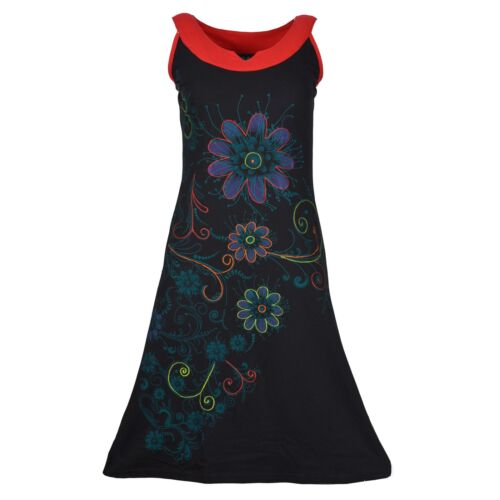 TATTOPANI WOMEN/'S SLEEVELESS DRESS WITH FLORAL PRINTS AND COLORFUL EMBROIDERY