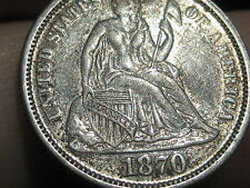 1870 Seated Liberty Dime- Rare Key Date- XF/AU Details