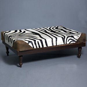 Incredible Zebra Print Cowhide Leather Ottoman Bench Rustic Kona Machost Co Dining Chair Design Ideas Machostcouk