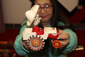 Antique-Vintage-Marx-Cowboy-Car-Wind-Up-Metal-Toy-WORKS