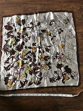 "RETRO VINTAGE SILK SQUARE SCARF BROWN WHITE FLORAL PRINT flowers 20"" square FAB"