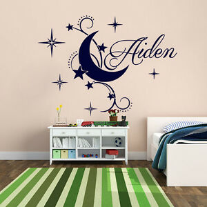 Details About Name Wall Decals Vinyl Decal Boy Nursery Bedroom Moon Stickers Stars Art Mn588