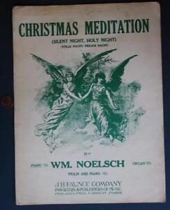 1920 Christmas Meditation Silent Night-Holy Night Song Sheet Music-BEAUTIFUL!* | eBay