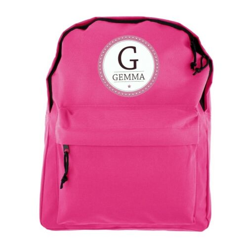Birthday Personalised Girls Name and Letter Pink Backpack Back To School