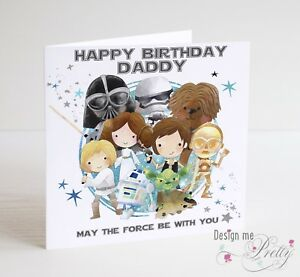 Image Is Loading STAR WARS Birthday Card Father Dad Boyfriend Husband
