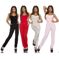 Neu Sexy Party Push Up Träger Bandeau Overall Catsuit Schwarz Rot Rosa 34 36 38
