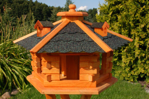 *XXL Vogelhaus Vogelhäuser Vogelhäuschen Futterhaus mit Ständer V16 Dach dunkel