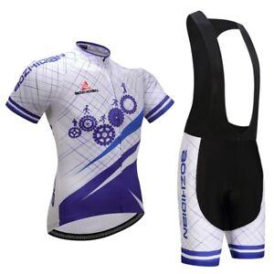 Mens Bike Clothes Set Cycling Jersey Shirts /& Padded Shorts Team Kit S-5XL Bib