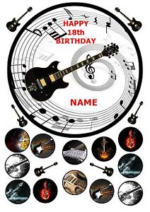 Electric Guitar 7 5 Round Cake Topper With Cupcake Toppers Icing