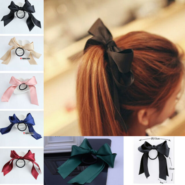 Women Sweet Multicolor Satin Ribbon Bow Hair Band Rope Scrunchie Ponytail Holder