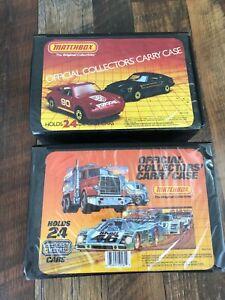 Vintage-Lote-De-2-casos-de-transporte-Coleccionistas-Matchbox-Oficial-Azul-Bandejas-48-coches