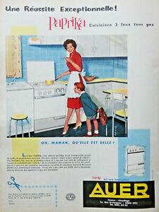 PUBLICITE-1959-AUER-CUISINIERE-PAPRIKA-3-FEUX-GAZ-DESSINEE-PAR-RAYMOND-LOEWY